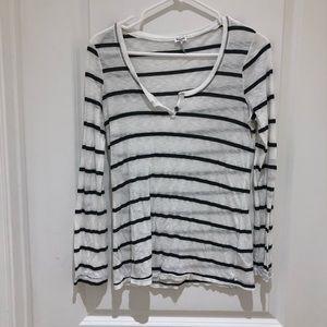 Splendid Charcoal Grey Stripe Top Small